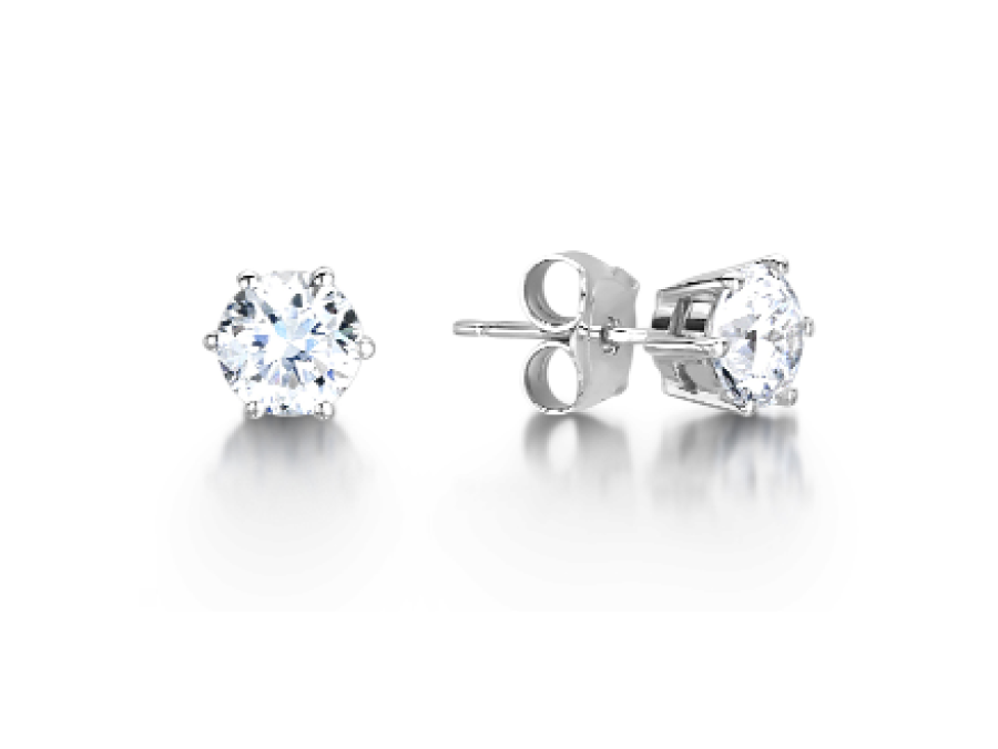 Solitaire Round Six Claw Stud Earrings