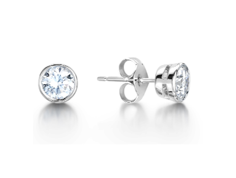 Solitaire Round Rub Over Stud Earrings
