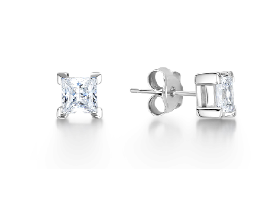 Solitaire Princess Cut Claw Stud Earrings