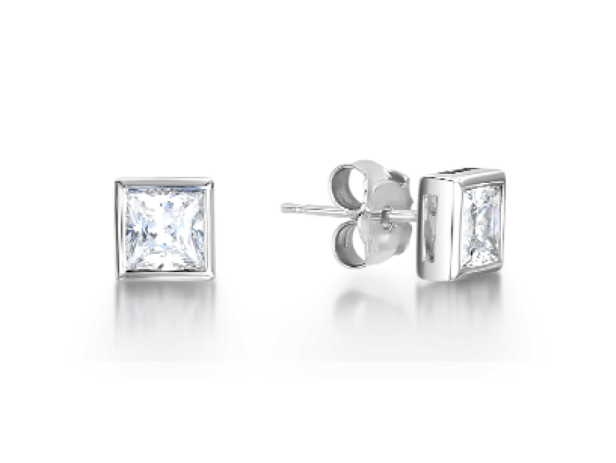 Solitaire Princess Cut Rub Over Stud Earrings