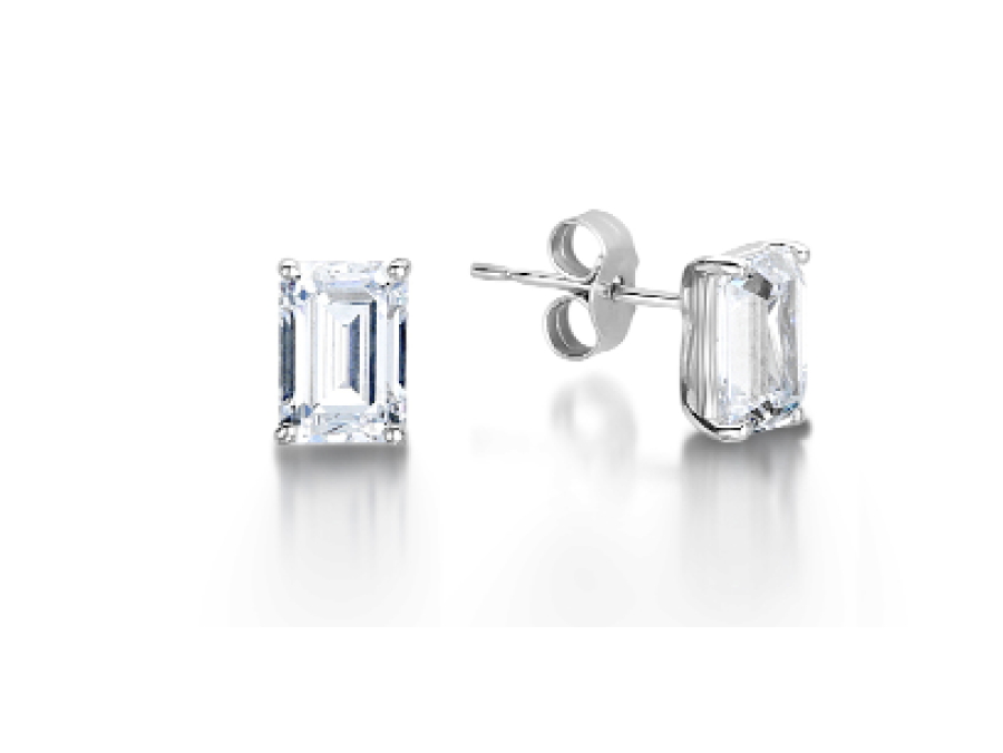 Solitaire Emerald Cut Claw Stud Earrings