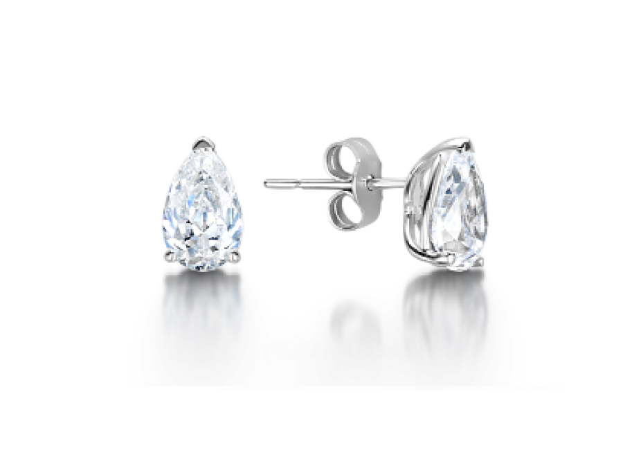 Solitaire Pear Shaped Claw Stud Earrings