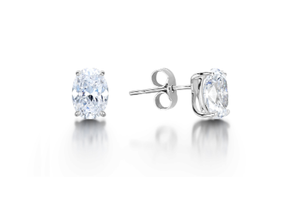 Solitaire Oval Claw Stud Earrings
