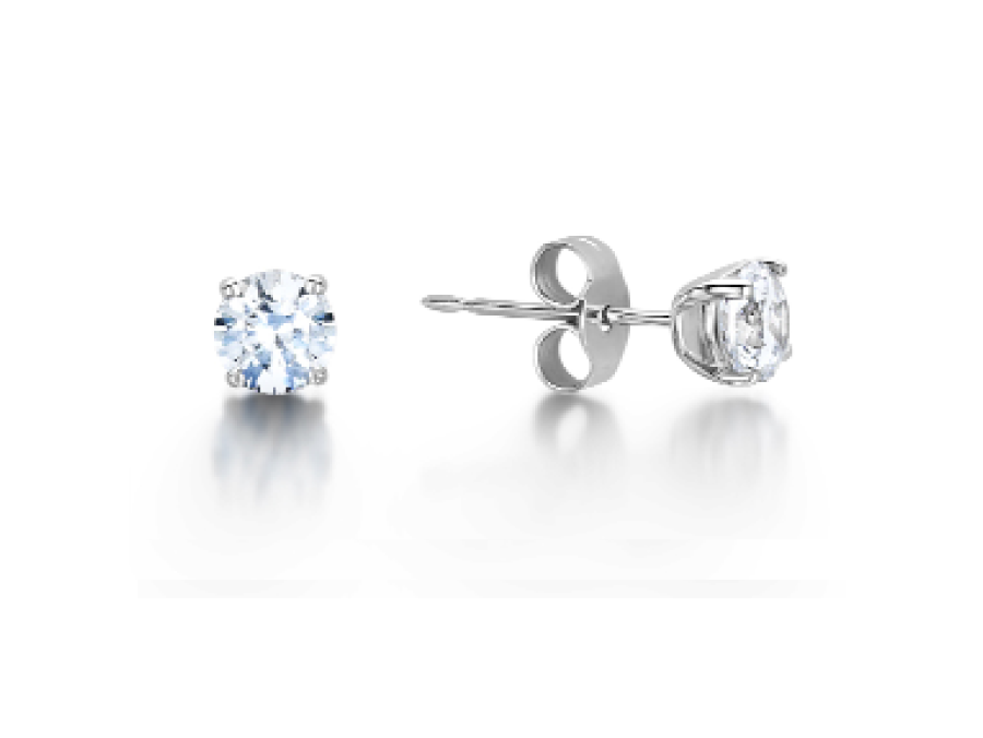 Solitaire Round Claw Stud Earrings